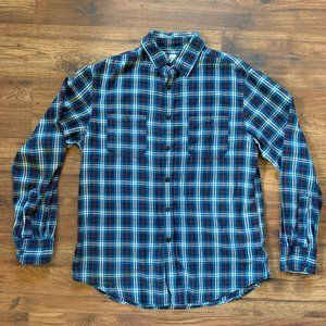 Mossimo Long Sleeve Blue/Black Plaid Button-Up